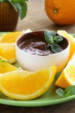 Dessert of chocolate mousse (melted chocolate) Stock Photos