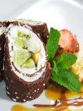 Dessert - Chocolate Pancakes Royalty Free Stock Images