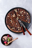 Dessert chocolate pizza Royalty Free Stock Image