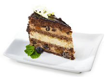 Dessert - Chocolate Sponge Cake Stock Photography