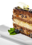 Dessert - Chocolate Sponge Cake Stock Images