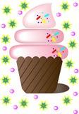 Dessert. Chocolate dessert, tasty muffin, air cream, whipped cream, pink fondant Royalty Free Stock Photos