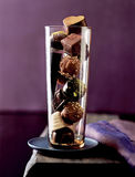 Dessert, chocolates in a glass Royalty Free Stock Photos