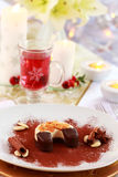 Dessert for Christmas with mulled wine Stock Photography