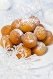 Dessert and Christmas snowflakes Stock Photo