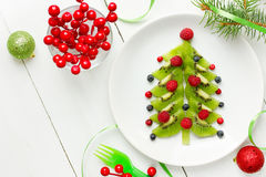 Dessert Christmas tree - Christmas fun food idea for kids. Top view Stock Photography