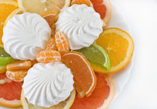 Dessert of citrus and marmalade. On a white background (isolated) with a fork Stock Photo