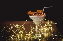 Dessert cocktail sweet shake. Dessert cocktail from yogurt ans cookiesnYammy sweetnMilk shaken royalty free stock photo