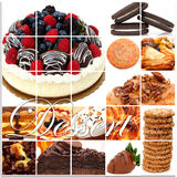 Dessert Collage. Including cakes, fruit, pies, pastry, cookies and more over white stock image