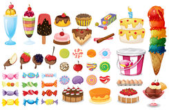 Dessert collection. Dessert and sweet food set on white Royalty Free Stock Images