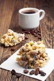 Dessert con cioccolata bianca e caffè fotografie stock