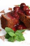 Dessert con la ciliegia Fotografie Stock Libere da Diritti
