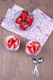 Dessert con la fragola Fotografia Stock Libera da Diritti