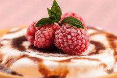 Dessert con rasberry e la menta fotografia stock libera da diritti