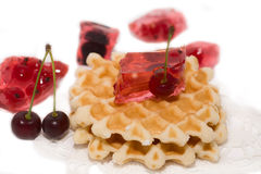 Dessert consist of currant and waffles stock image