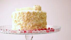 Dessert Cookies Cake met kersen Cake met fruit en koffie stock video