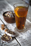 Dessert of cookies, chocolate, coffee with tea Royalty Free Stock Photo