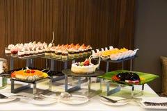 Dessert corner at a buffet restaurant Stock Photos