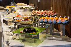 Dessert corner at a buffet restaurant Royalty Free Stock Image