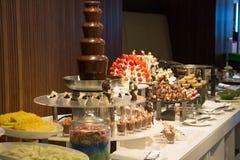 Dessert corner at a buffet restaurant Stock Photo