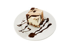 Dessert crémeux de chocolat de la plaque blanche Photos stock