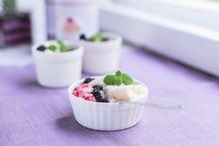 Dessert crémeux fait maison avec des baies image libre de droits