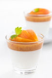 Dessert with cream and apricot jelly and mint, close-up Royalty Free Stock Photos