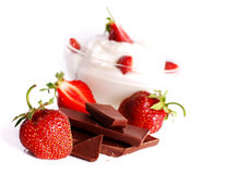 Dessert with cream and strawberry Royalty Free Stock Photo