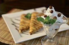 Dessert crema Fotografia Stock Libera da Diritti