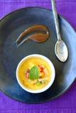 Dessert crema della vaniglia francese tradizionale con zucchero caramellato sulla parte superiore Immagine Stock Libera da Diritti