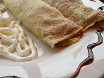Dessert crepes. A plate of dessert crepes Stock Photos