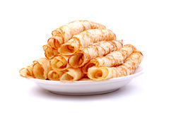 Dessert crepes with fresh apples Stock Image