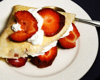 Dessert Crepes with Strawberries and Cream Royalty Free Stock Photo