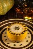 Dessert crudo della zucca I dolci crudi sono dolci e pasticcerie che non sono esposti per riscaldare ed elaborazione del prodotto fotografia stock