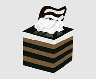 Dessert cube. Cake with whipped cream and chocolate vector illustration