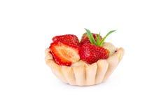 Dessert cuit au four de fraise avec de la crème Doux Photographie stock libre de droits