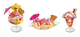 Dessert - Cup - bowl of ice cream and waffles isolated on white Stock Images