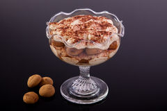 Dessert in cup. On glass stock photography