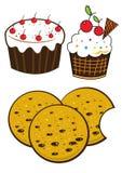 Dessert. Cupcake, cake and cookies biscuits set Stock Photos