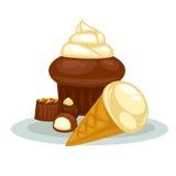 Dessert: cupcake, icecream and candy. Stock Photography