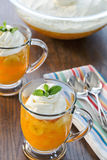 Dessert cups of old fashioned Jell-o with a creamy Royalty Free Stock Photography