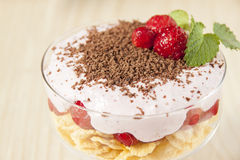 Dessert with curd cream, cereal, strawberries and chocolate. Stock Image