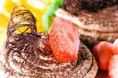 Dessert d'un chocolat avec la fraise Photos libres de droits