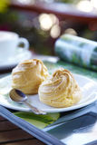 Dessert from dairy product. Two cream dessert on a book Stock Photography
