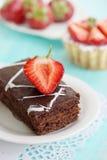 Dessert dark chocolate and strawberries Stock Photos