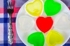 Dessert de bonbon à gélatine de coeur de forme Photo libre de droits