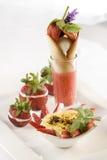 Dessert de Champagne de fraise photographie stock