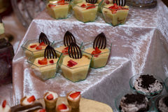 Dessert de crème anglaise Photos libres de droits