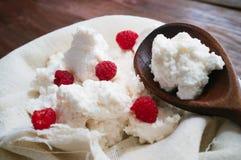 Dessert de fromage blanc avec la framboise photo libre de droits