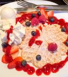 Dessert de gaufre Photo stock